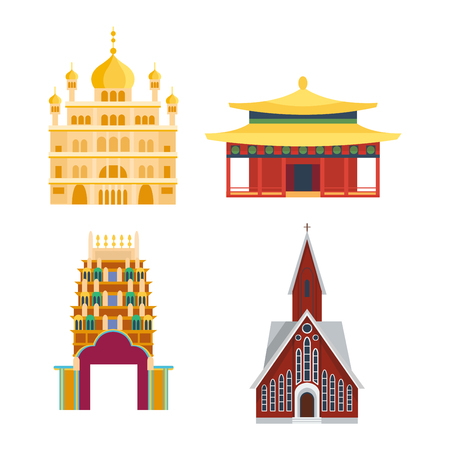 Chinese temple asia culture architecture and travel ancient building chinese temple. Chinese famous old structure temple, chinese religion. Beautiful china asia travel landmarks chinese temple vector.