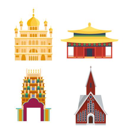 templo chino asia configuración cultura y viajar edificio antiguo templo chino. China famoso templo antigua estructura, chino religión. Hermosa viajes asia china chino vector de señales templo.