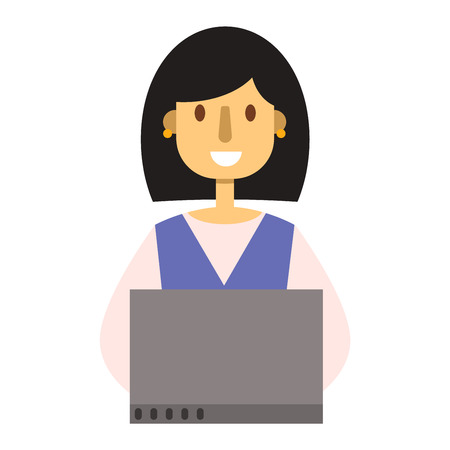 girl laptop: Woman working on laptop computer technology internet person vector character. Happy casual laptop girl working communication. Modern lifestyle business working laptop girl education leisure. Illustration