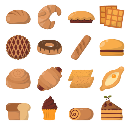 breakfast cereal: Vector illustration of bakery product food collection. Breakfast wheat meal chocolate dessert bakery products. Fresh grain product bun roll bakery products grocery health diet snack gourmet cereal. Illustration