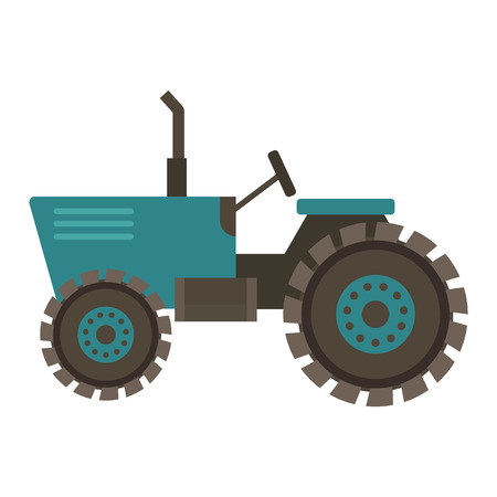 Vehicle tractor farm vector illustration isolated on white background. Construction industry farm harvesting machinery equipment tractors