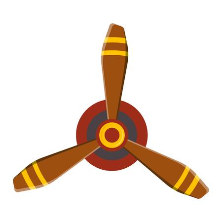 Turbine plane icon propeller fan rotation technology equipment. Fan blade, wind ventilator propeller plane fan equipment. Vector illustration propeller plane turbine vector industrial ventilator Ilustração