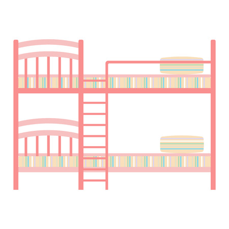 bedtime: Vector two floor double kids bed icon interior home rest. Bed vector sleep furniture icon. Bed vector house information bedtime modern service sleep furniture.