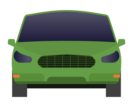 sedan: Car sedan front view vehicle transport type design sign technology style vector. Generic sedan car design flat vector illustration isolated on white. Transport sedan object Illustration
