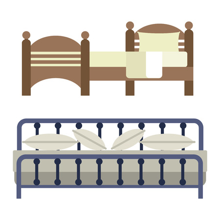 bedtime: Vector bed icon interior home rest. Bed vector sleep furniture icon. Bed vector house information bedtime modern service sleep furniture.