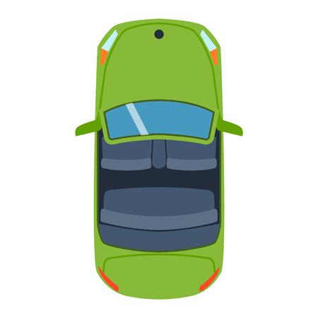 Vector auto voertuig icoon bovenaanzicht. Van bovenaf auto bovenaanzicht. Sommige transportvoertuig geïsoleerd op wit. Transport voertuigen ontwerp auto bovenaanzicht motor van.
