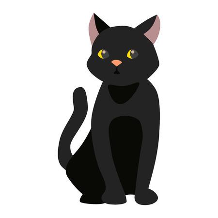 Stile cartone animato gatto nero silhouette vettoriali. Sveglio che si siede animale gatto domestico. Cartoon gatto nero simbolo giovane adorabile coda giocoso. Cartoon divertente domestico figa gattino gatto nero sedersi carattere Archivio Fotografico - 62781410