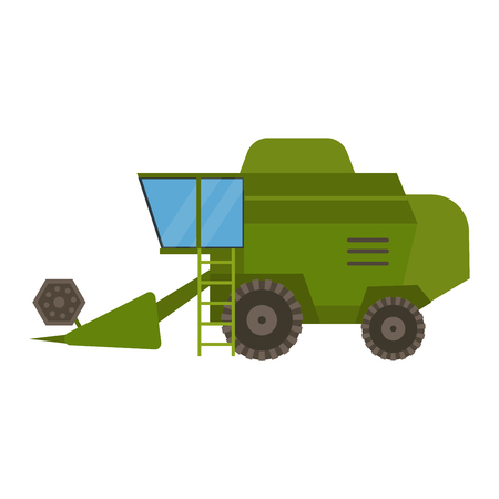 mowing: Agricultural combine vehicle and harvester machine, combine and excavator. Agricultural combine harvester machine with accessories for plowing, mowing, planting and harvesting. Illustration