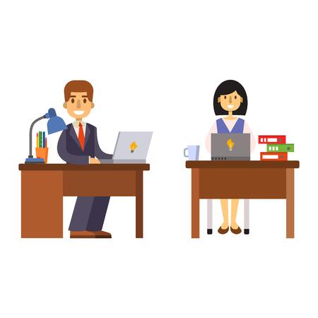 Oficina de trabajo en equipo de computadora de escritorio grupo de personas de negocios del vector. equipo empleado de oficina empleado de oficina y negocios personales. trabajador de la oficina de trabajo corporativa reunión masculina. gestor de empleado de oficina. Ilustración de vector