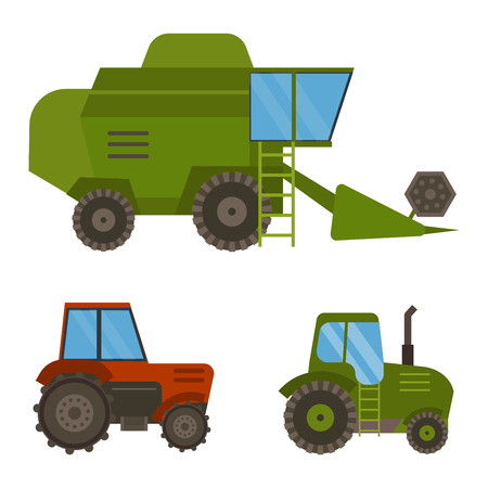 Set of different types of agricultural vehicles and harvester machine, combines and excavators. Icon set agricultural harvester machine with accessories for plowing, mowing, planting and harvesting. Ilustração
