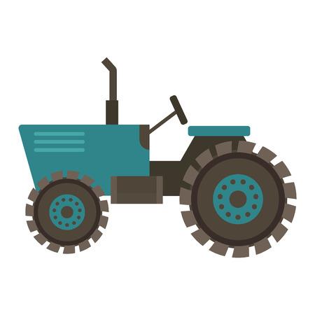 Voertuig trekker boerderij vectorillustratie geïsoleerd op een witte achtergrond. Bouwindustrie boerderij oogsten machines apparatuur tractoren Stock Illustratie