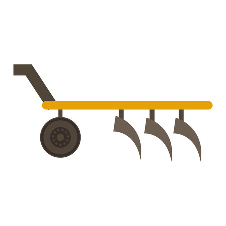plough machine: Farm plow for deep plowing vintage engraved vector illustration. Industrial agriculture farming field farm plow rural machinery. Vector cultivation plough vehicle machine farm agriculture.