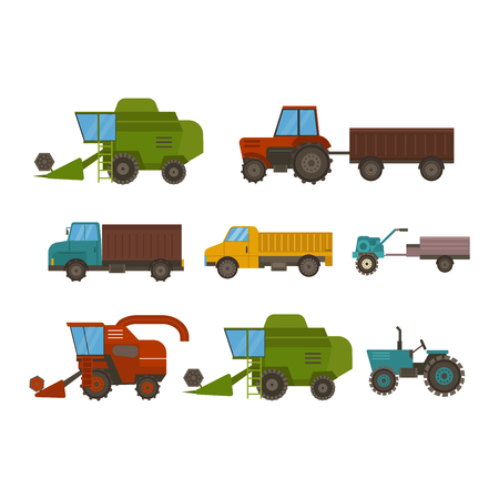 mowing: Set of different types of agricultural vehicles and harvester machine, combines and excavators. Icon set agricultural harvester machine with accessories for plowing, mowing, planting and harvesting. Illustration