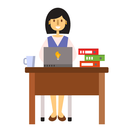 girl using laptop: Busy young business woman working at desk typing laptop vector. Woman working computer and young woman working. Office technology woman working at desk typing laptop worker communication table.
