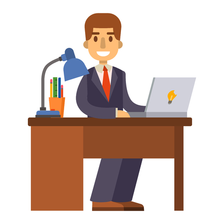 lap top: Office working on desktop computer team group person businessman vector. Office worker team and personal businessman office worker. Office worker working male meeting corporate. Office worker manager. Illustration