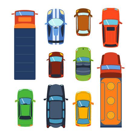 Vector car véhicule ensemble icône vue de dessus. De-dessus du sommet de la voiture vue. Certains transport de véhicules isolé sur blanc. Transport collection de véhicules voiture de conception moteur vue de dessus de van.
