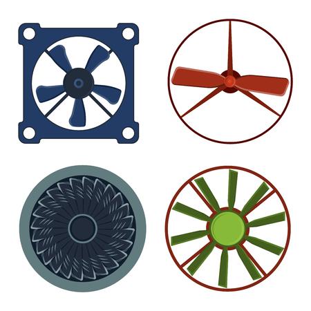 airflow: Turbines icons propeller fan rotation technology equipment. Fan blade, wind ventilator propeller fan equipment generator. Vector illustration propeller fan vector electric industrial ventilators. Illustration
