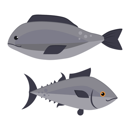 food poison: Gray fish animal nature food and fish ecology environment. Fish icon isolated on white