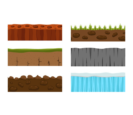 rock layer: Illustration of cross section ground slice isolated on white background. Some ground slices piece nature cross outdoor. Ecology underground ground slice vector. Illustration