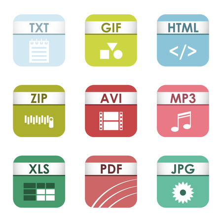 file types: Simple vector square file types and formats labels icon set. File type format icons presentation document symbol. Audio extension file type icons graphic multimedia sign application software folder. Illustration