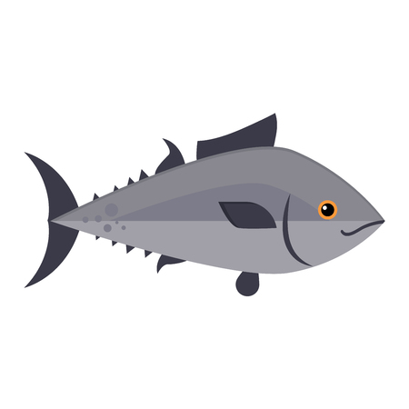 food waste: Gray fish animal nature food and fish ecology environment. Fish icon isolated on white