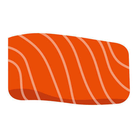 ready cooked: Piece salmon fish slice isolated on white background and freshness cut delicious diet eat fish slice vector. Steak cuisine cooking fresh meat fish slice and fish slice dinner salmon meat ingredient.
