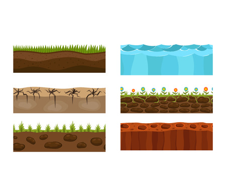 under water grass: Illustration of cross section ground slice isolated on white background. Some ground slices piece nature cross outdoor. Ecology underground ground slice vector. Illustration