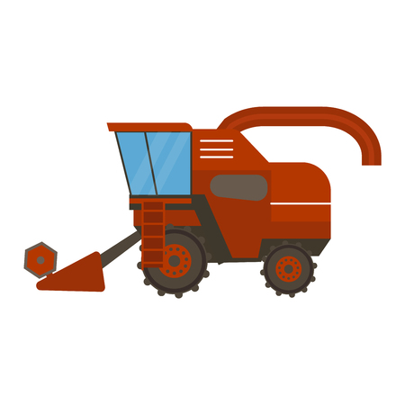 plowing: Agricultural combine vehicle and harvester machine, combine and excavator. Agricultural combine harvester machine with accessories for plowing, mowing, planting and harvesting. Illustration