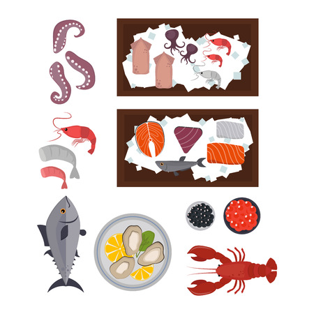 seafood platter: Seafood set design flat fish and crab. Seafood fish, seafood platter, lobster and crab, food oyster, fresh seafood, shrimp and menu sea food, octopus animal, shellfish. Fresh sea food collage