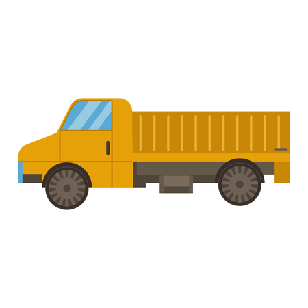 Vector tipper truck illustration isolated on white background. Vector tipper truck under construction icon illustration. Vector tipper isolated vector truck