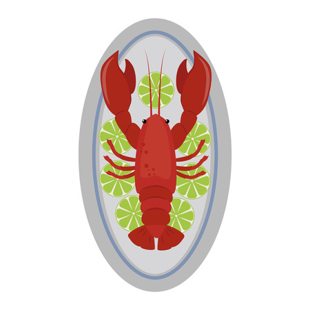cooked: Lobster vector flat illustration isolated on white background. Fresh seafood lobster icon claw meal isolated. Gourmet crustacean cooked red dinner lobster marine food fresh fish delicious vector.