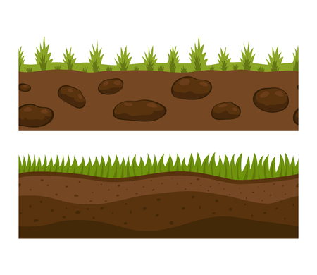 Illustration of cross section ground slice isolated on white background. Some ground slices piece nature cross outdoor. Ecology underground ground slice vector. Illusztráció