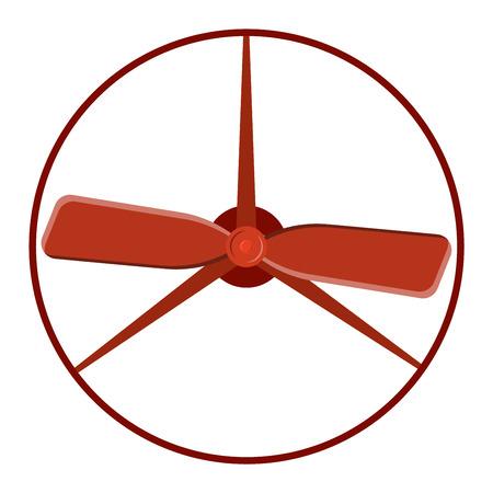 Turbine plane icon propeller fan rotation technology equipment. Fan blade, wind ventilator propeller plane fan equipment. Vector illustration propeller plane turbine vector industrial ventilator Illustration
