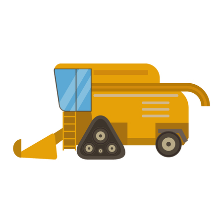 combine: Agricultural combine vehicle and harvester machine, combine and excavator. Agricultural combine harvester machine with accessories for plowing, mowing, planting and harvesting. Illustration