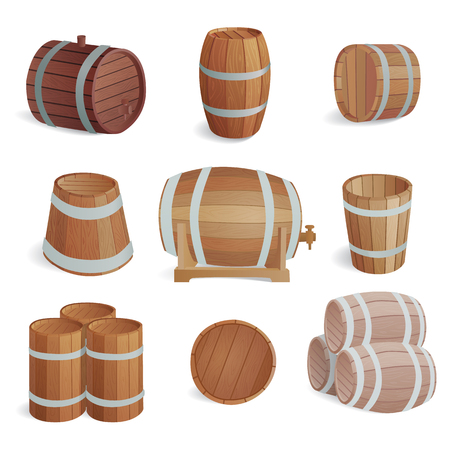 Row of wooden barrels of tawny portwine in cellar. Vintage old style wooden barrels oak storage container. Wooden barrels keg vintage beer cask drink rustic ferment store tradition container vector.  イラスト・ベクター素材