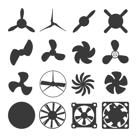 Turbines icons propeller fan rotation technology equipment. Fan blade, wind ventilator propeller fan equipment generator. Vector illustration propeller fan vector electric industrial ventilators. Vetores