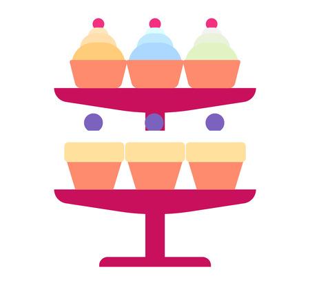 Pie isolated cake vector. Wedding or birthday cake sweet dessert homemade pie. Cream brownie cake topped pie isolated on white