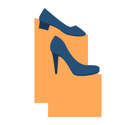 leather shoes: Womens leather shoes elegance vector. Glamour womens shoes stylish original design new fashionable accessory. Womens high heels beautiful shoes fashion style footwear cartoon flat vector. Illustration