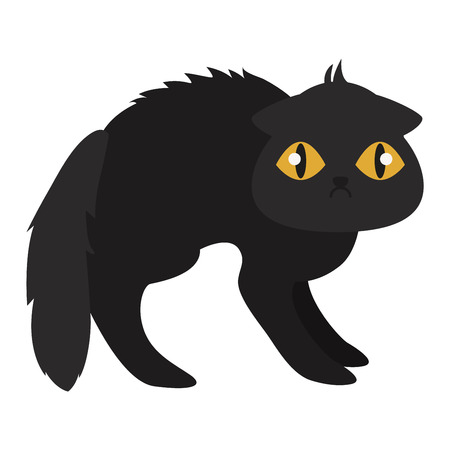 playful: Cartoon style black cat vector silhouette. Cute domestic cat animal sitting. Cartoon black cat young adorable tail symbol playful. Cartoon funny domestic pussy kitty black cat sit character
