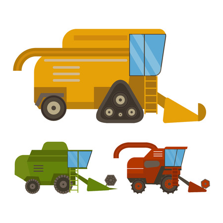 harvester: Set of different types of agricultural vehicles and harvester machine, combines and excavators. Icon set agricultural harvester machine with accessories for plowing, mowing, planting and harvesting. Illustration