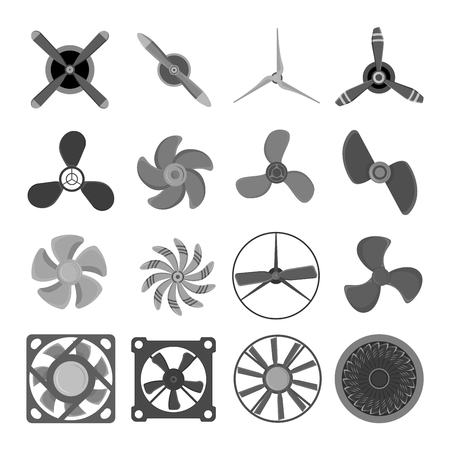 Turbines icons propeller fan rotation technology equipment. Fan blade, wind ventilator propeller fan equipment generator. Vector illustration propeller fan vector electric industrial ventilators. Illustration