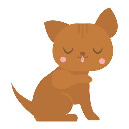 pussy: Cat cartoon style vector silhouette. Cute domestic cat animal playfull. Cartoon cat young adorable tail symbol playful. Cartoon funny domestic pussy kitty character Illustration