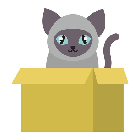 playfull: Cat cartoon style vector silhouette sitting in box. Cute domestic cat animal playfull. Cartoon cat young adorable tail symbol playful. Cartoon funny domestic pussy kitty character