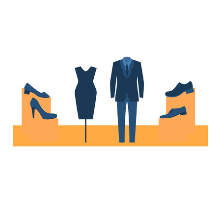 Vector isolated dummy mannequin model. Different poses colors dummy mannequin model male and female icons. Beautiful attractive sculpture plastic dummy mannequin model figure silhouette, female head. Illustration