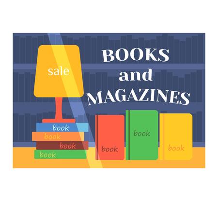 shop window: Book shop window facade illustration vector isolated
