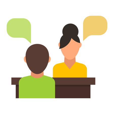 Belastende Menschen warten auf Vorstellungsgespräch und Interview Vektor-Konzept. Interview Büroleute und Bürokaufmann Corporate Mitarbeitergespräch. Interview-Sitzung Beruf professionelle Leute.