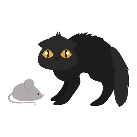pussy: Cartoon style black cat vector silhouette. Cute domestic cat animal sitting. Cartoon black cat young adorable tail symbol playful. Cartoon funny domestic pussy kitty black cat sit character