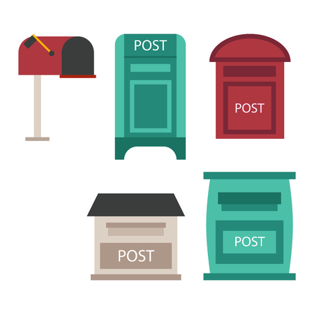 mail box: Beautiful rural curbside open and closed mailboxes with semaphore flag vector illustration. Traditional communication empty postage post mail box. Letter message post mail box service correspondence.