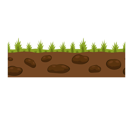 Illustration of cross section ground slice isolated on white background. Some ground slices piece nature cross outdoor. Ecology underground ground slice vector. Illustration