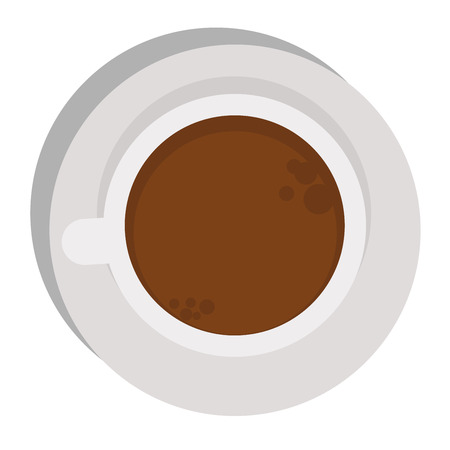 mocha: Coffee cup top view isolated on white. Cup coffee top view vector and cup hot coffee top view. Cup coffee top view hot drink espresso and brown cup coffee top view cappuccino, black mocha color mug. Illustration